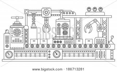 Computer controlled robots packing cardboard boxes of industrial assembly line. Factory construction machinery technology equipment, engineering outline stroke vector illustration