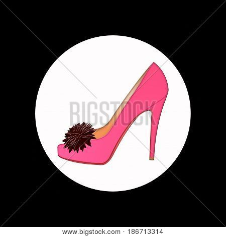 isolated pink women's Shoe. icon women's Shoe with flower on the background