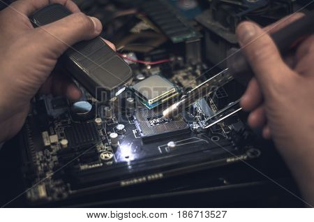 Computer processor (CPU). Work with CPU socket on motherboard.