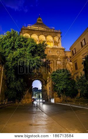 Palermo, Italy - October 13, 2009: View Of The Famous Royal Palace, In Palermo