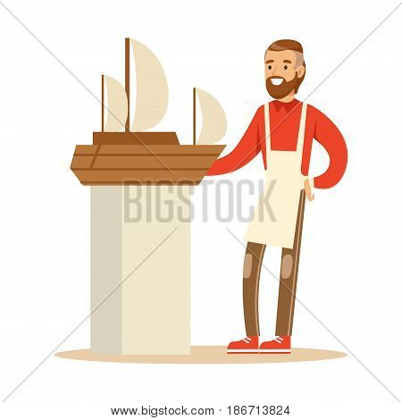 Smiling man making model of a sail boat. Hobby or profession olorful character vector Illustration isolated on a white background
