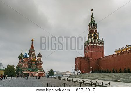 St. Basil's Cathedral And Red Square In Moscow