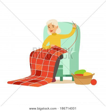 Grandmother sewing sitting in a chair. Colorful character vector Illustration isolated on a white background