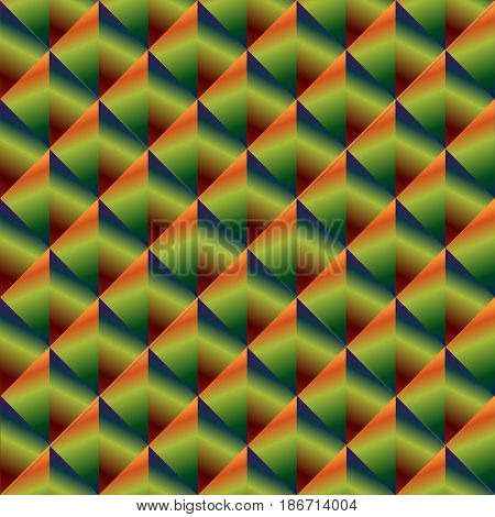 Lozenge seamless pattern with gradient of greenblue orange and red