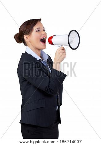 Bullhorn woman shouting businesswoman office worker female person