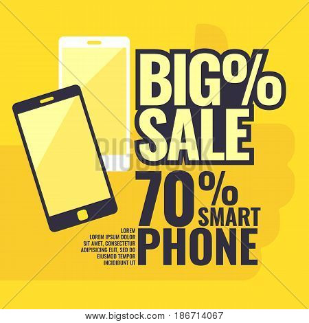 Poster most selling smartphones with a percent sign. Vector illustration in a flat style, can be used as a template for the stock on the Internet