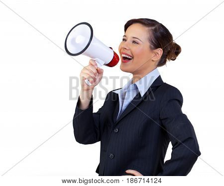 Bullhorn woman shouting female businesswoman office worker person