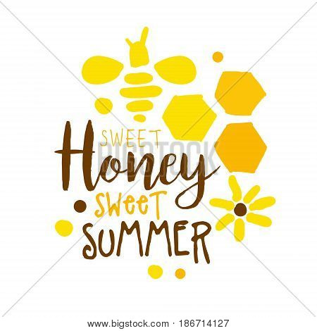 Honey sweet summer logo. Colorful hand drawn vector illustration for honey and apiary products