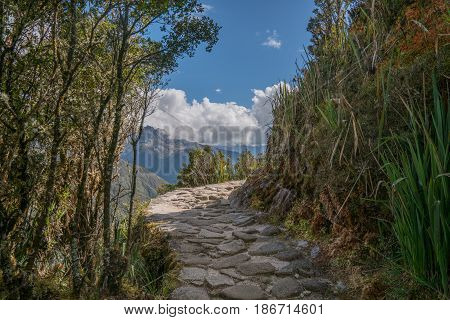 The Inca Trail is a Paved Stone Path to the Ancient City of Machu Picchu