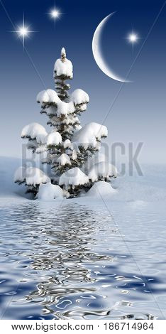 Snowbound christmas tree in the night sky with the moon and stars reflected in the water surface with small waves
