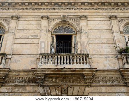 Old Havana downtown architectural detail window - Havana Cuba