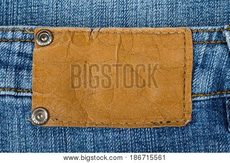 Label jeans denim jeans blank label clothing isolated closeup