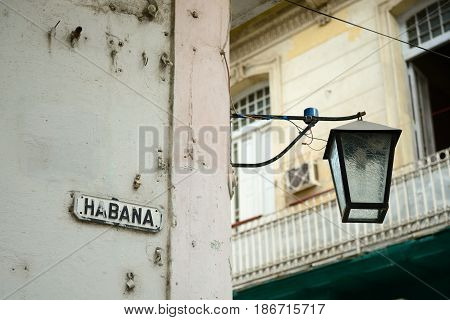 Old Havana downtown - view on the lamp and an old tenement - Havana Cuba