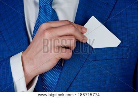 Blank Business Card In Hand Of Man Executive In Pocket