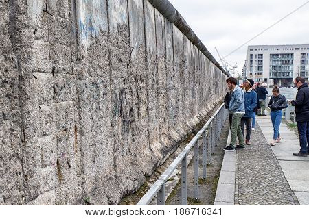 BERLIN GERMANY - APRIL 7: Berlin wall in museum Topography of Terror on April 7 2017 in Berlin