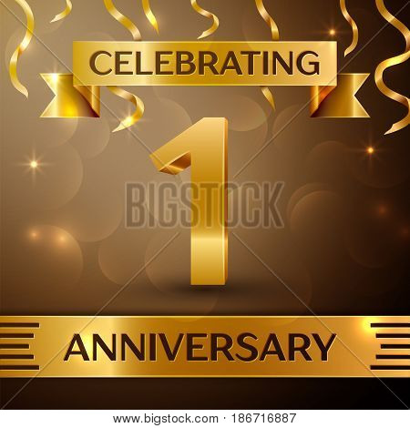 One Years Anniversary Celebration Design. Confetti and gold ribbon on golden background. Colorful Vector template elements for your birthday party. Anniversary ribbon