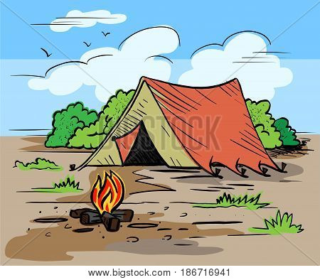 Hiking camping outdoor recreation concept with tent trees bonfire. Hand drawn landscape in sketch style illustration for tourism poster banner postcard.