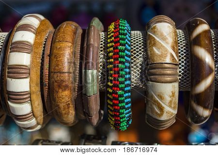 Traditional Cretan souvenirs. Greece. Women's bangles with national folk ornament and pattern.