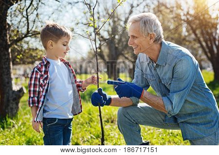 Real gardeners secrets. A shot of a senior man gardening in spring and talking with his grandchild while planting a new tree