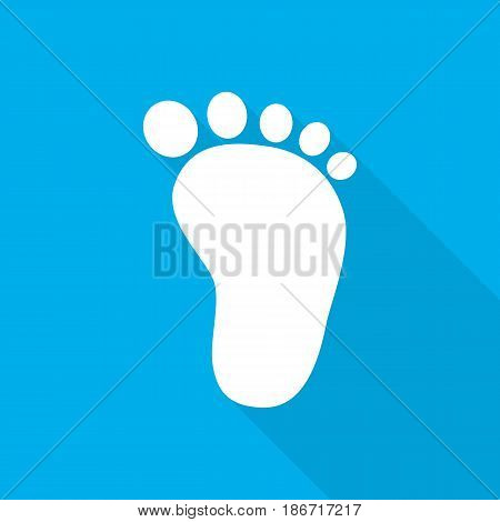 Baby footprints icon. Vector illustration. White footprints of baby with long shadow on blue background.