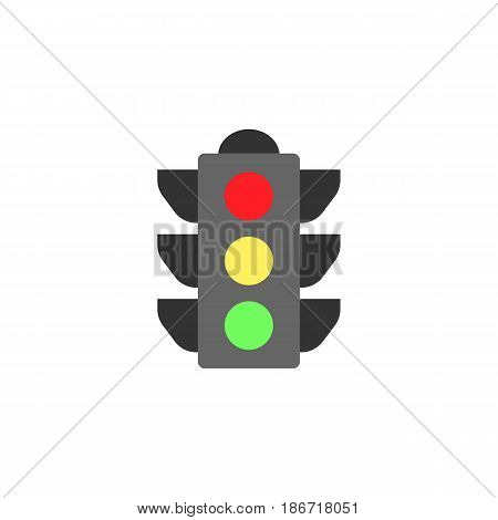 Traffic light flat icon, stop light and navigation, vector graphics, a colorful solid pattern on a white background, eps 10.