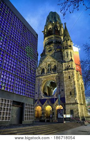 BERLIN GERMANY - APRIL 7: Ruins of Kaiser Wilhelm Memorial Church which was bombed during World war II on April 7 2017 in Berlin
