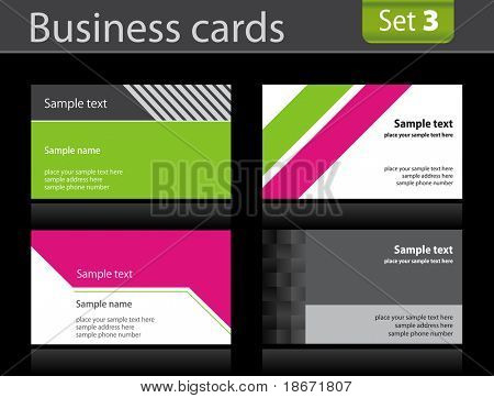 Set of business cards templates. Vector illustration.