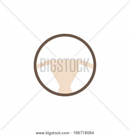 Steering wheel solid icon, car element and navigation, vector graphics, a colorful flat pattern on a white background, eps 10.