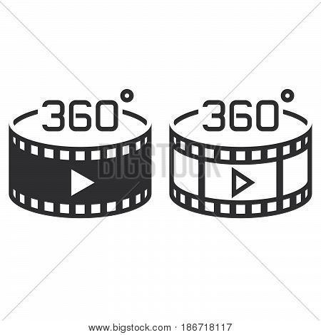 360 Degree Panoramic Video Symbol. Line Icon, Outline And Solid Vector Sign, Linear And Full Pictogr