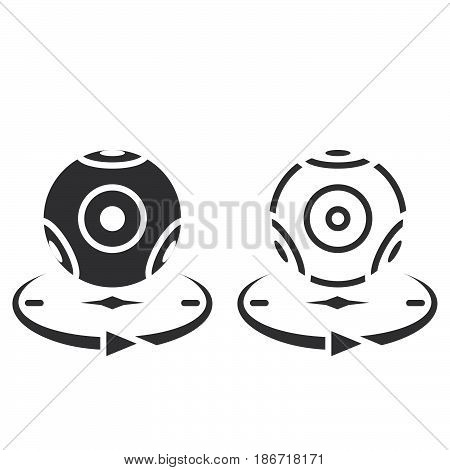 Panoramic Video Camera Line Icon, Outline And Solid Vector Sign, Linear And Full Pictogram Isolated