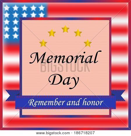 Vector illustration. Happy memorial day. American holiday