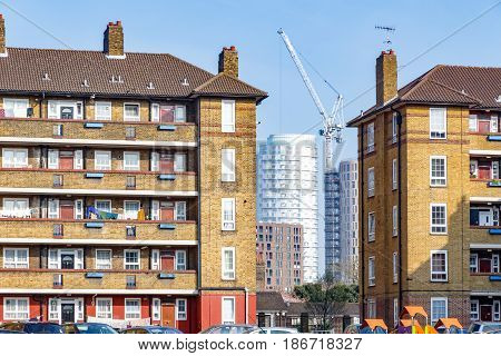 Council Housing Blocks And Modern Tower Block Flats