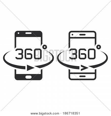 Smartphone 360 Degree Rotation Line Icon, Outline And Solid Vector Sign, Linear And Full Pictogram I