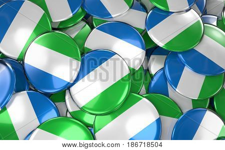 Sierra Leone Badges Background - Pile Of Sierra Leonean Flag Buttons.