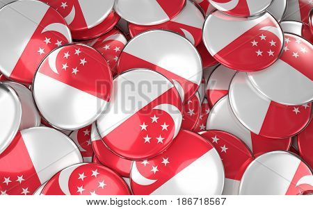 Singapore Badges Background - Pile Of Singaporean Flag Buttons.