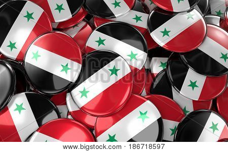 Syria Badges Background - Pile Of Syrian Flag Buttons.