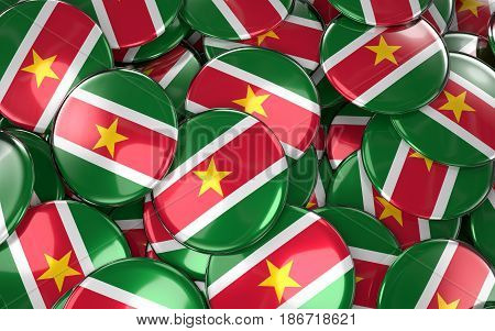 Suriname Badges Background - Pile Of Surinamese Flag Buttons.