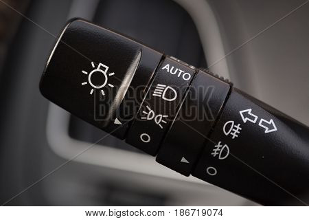 Car selective focus light switch lights control lights knob focus on foreground control knob