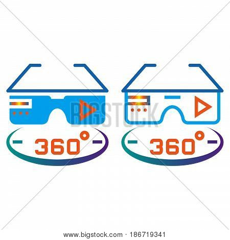 360 Degree Vr Glasses Line Icon, Outline And Solid Vector Sign, Linear And Full Pictogram Isolated O