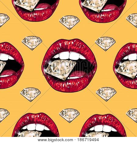Bright lips holding a sparkling brilliant. Seamless pattern. Realistic graphic drawing. Background. Orange
