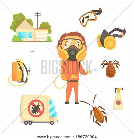 Exterminators of insects in orange chemical protective suit with equipment and products set. Pest control service cartoon colorful Illustrations isolated on white background