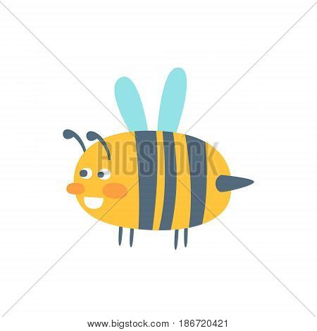 Cute cartoon wasp, colorful character vector Illustration isolated on a white background