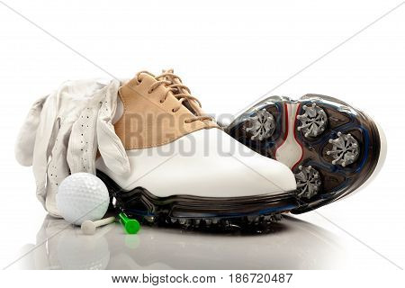 Golf ball tee golf shoes isolated sport golf glove golf tee