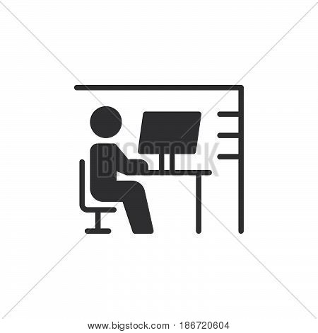 Workplace desk icon vector filled flat sign solid pictogram isolated on white. Symbol logo illustration. Pixel perfect