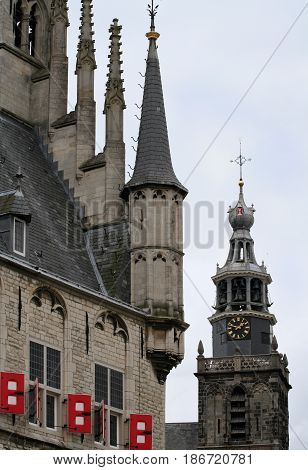 Netherlands Zuid-Holland Gouda june 2016: Detail of the city-hall and church