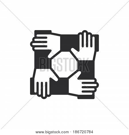 Cooperation hands teamwork icon vector filled flat sign solid pictogram isolated on white. Symbol logo illustration. Pixel perfect