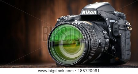 POZNAN POLAND - JAN 20 2017: Nikon is a Japanese multinational corporation headquartered in Tokyo Japan specializing in optics and imaging products including cameras camera lenses.