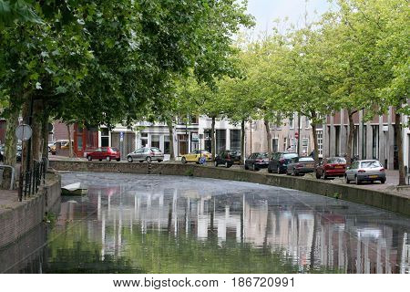 Netherlands Zuid-Holland Gouda june 2016: Canal Hoge Gouwe