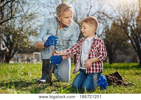 Taking care of environment. Grandfather spending time outdoors with his little grandson, both smiling and enjoying the process