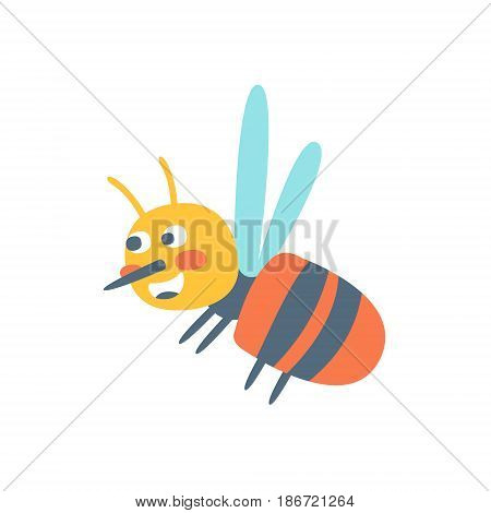 Cute cartoon honey bee, colorful character vector Illustration isolated on a white background